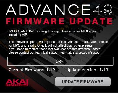 Akai Pro Advance Series - Firmware Update Guide | Akai Professional