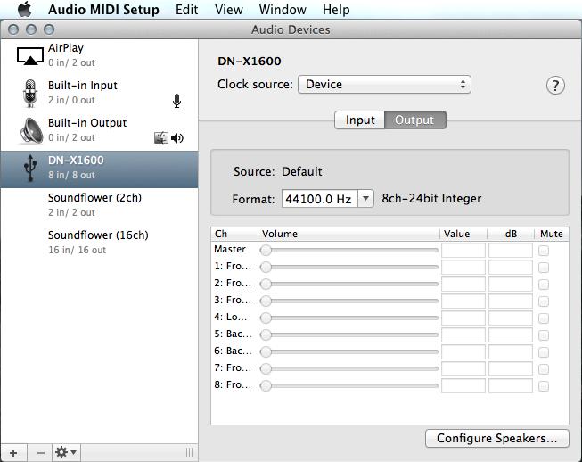 DNX1600 Audio MIDI Setup