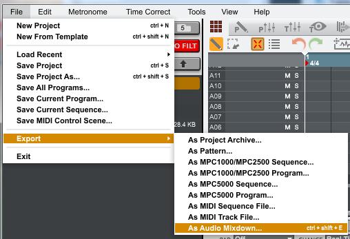 mpc software exportingaudio3