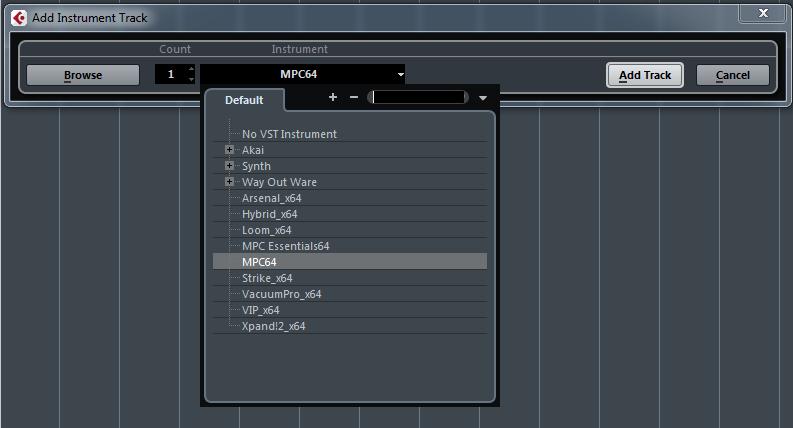 MPC Touch Cubase Insturment Select