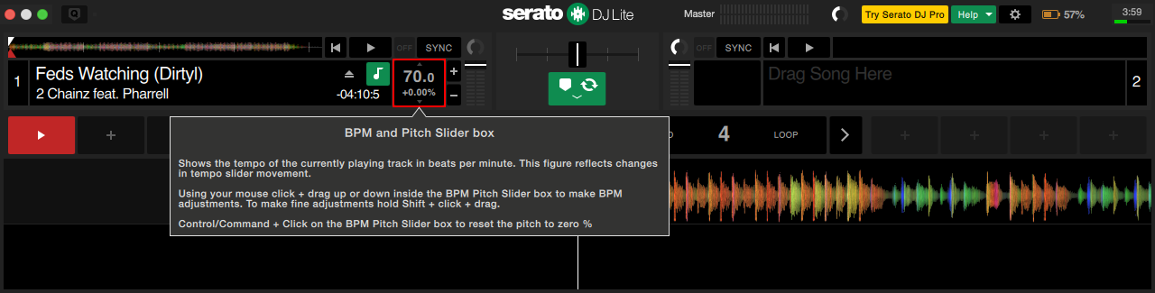 SeratoDJLite BPM Pitch Slider