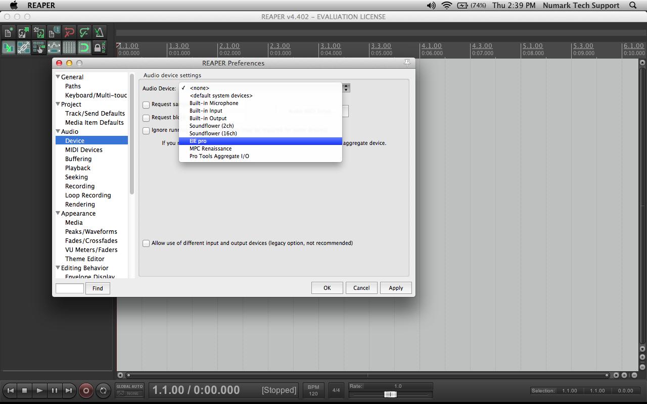 eiepro reaper mac 5