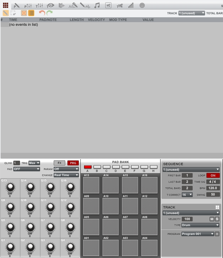 akai mpc1-6 empty list edit screen