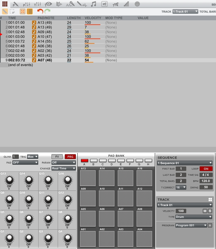 akai mpc1-6 full list edit screen