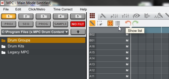akai mpc1-6 list edit button