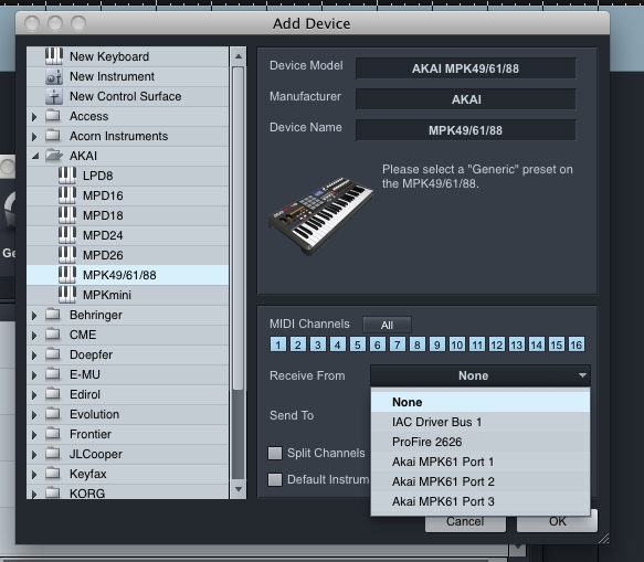 akai mpk studioone receive from
