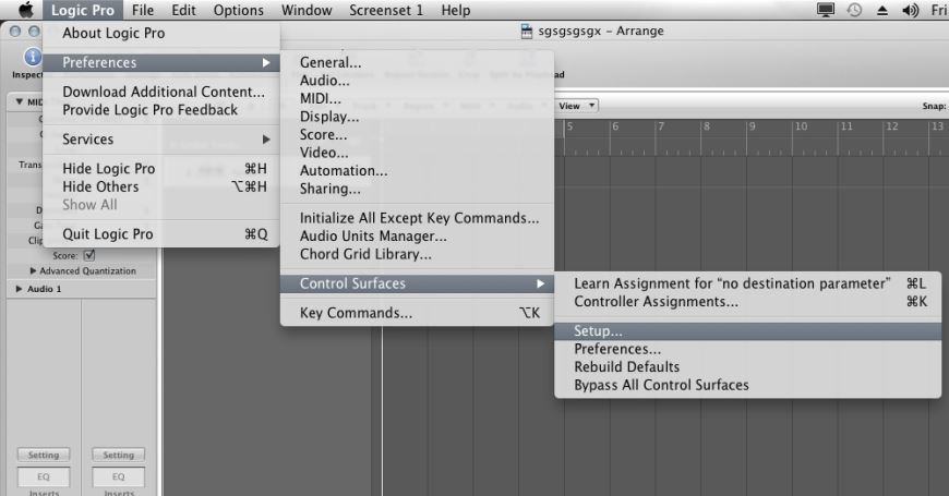 M Audio Axiom AIR Logic Setupmenu