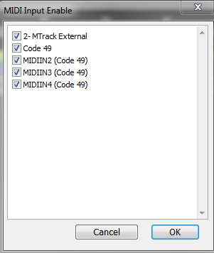 m audio code midi select