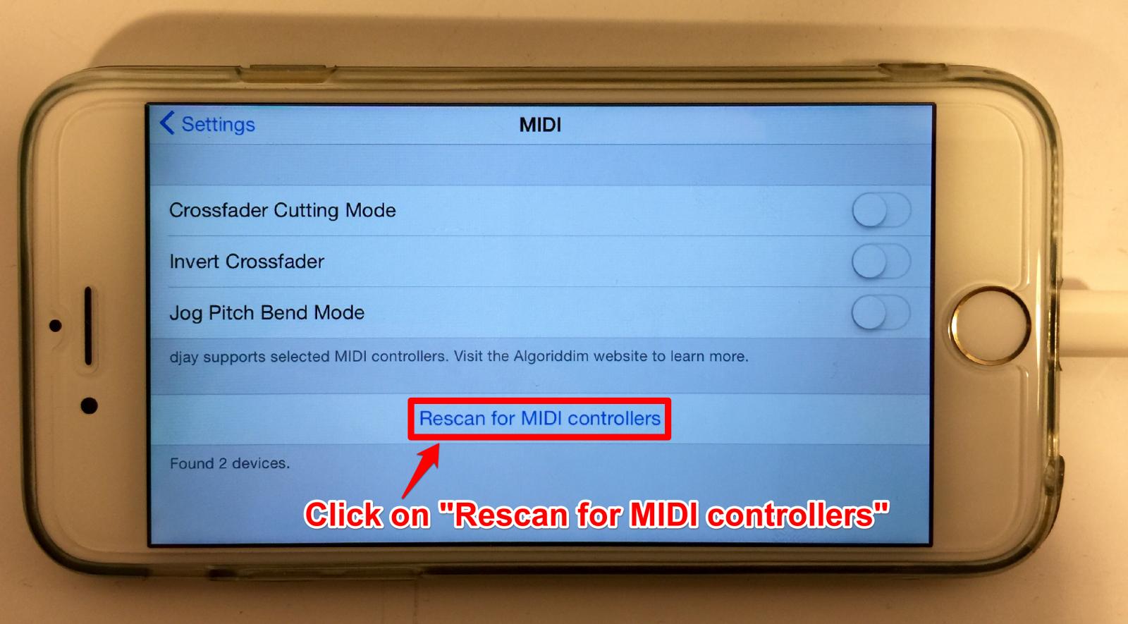 numark mixdeckquad iOS8 rescanformidi