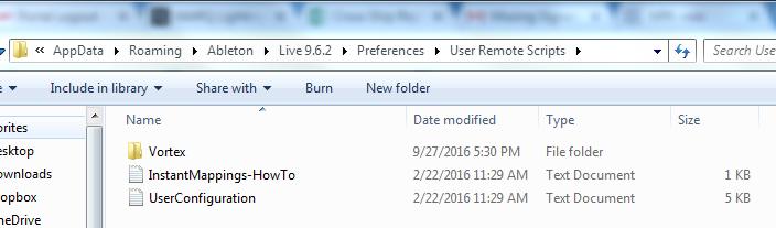 vortex ableton folder